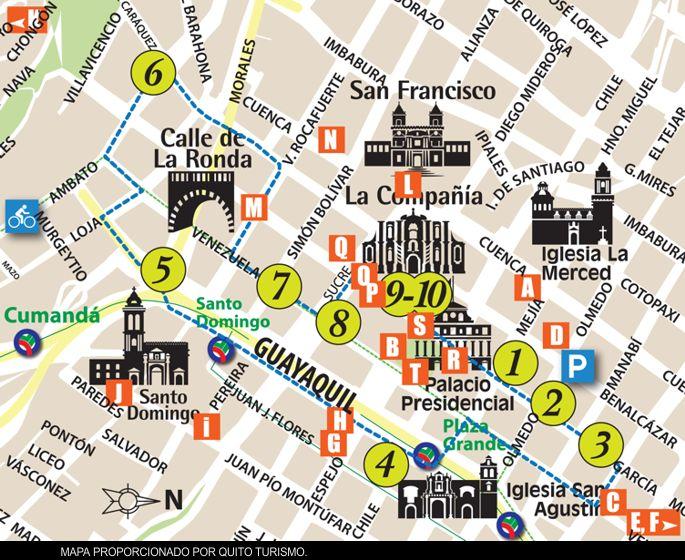 ruta lugares vista Quito